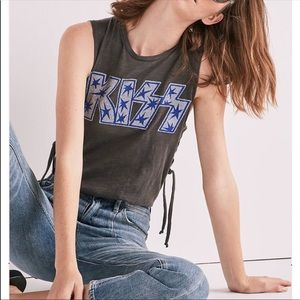 Lucky Brand Kiss Band Tee Lace-Up Glitter Tank